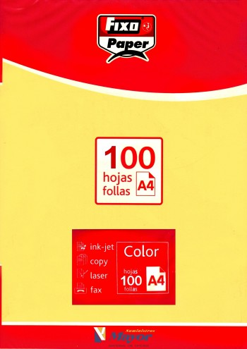Papel multifuncion Color FIXO A4 claro 80 gr. Amarillo claro 100 hojas