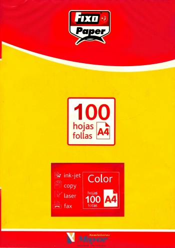 Papel multifuncion Color FIXO A4 intenso 80 gr. Amarillo vivo 100 hojas
