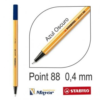 Rotulador STABILO point 88/41 punta fina 0,4 mm. Azul oscuro