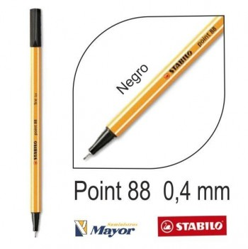 Rotulador STABILO point 88/46 punta fina 0,4 mm. Negro