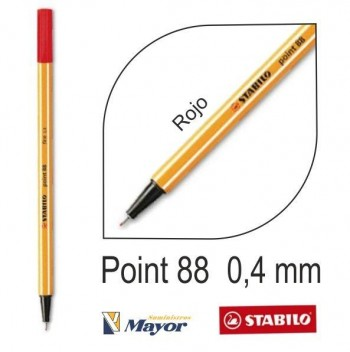 Rotulador STABILO point 88/40 punta fina 0,4 mm. Rojo