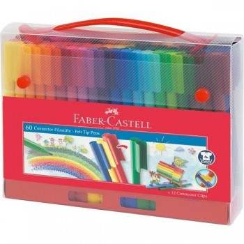 Rotuladores FABER CASTELL Connector punta fibra 60 colores maletin