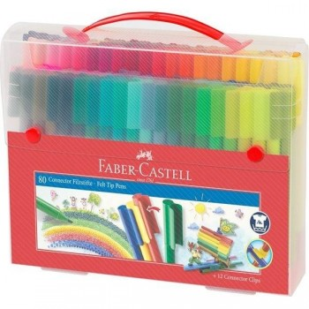Rotuladores FABER CASTELL Connector punta fibra 80 colores maletin