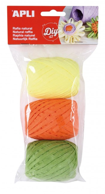 Ovillo Rafia APLI Diy tonos Fluorescentes 30 m. Pack 3 colores