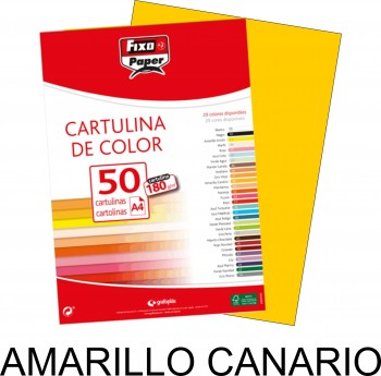 Cartulina A4 FIXO 180g. pack 50 hojas color Amarillo Canario