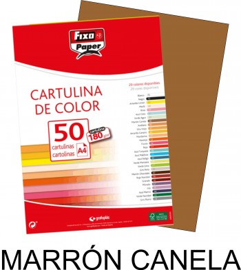 Cartulina A4 FIXO 180g. pack 50 hojas color Marrón Canela