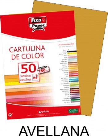 Cartulina A4 FIXO 180g. pack 50 hojas color avellana