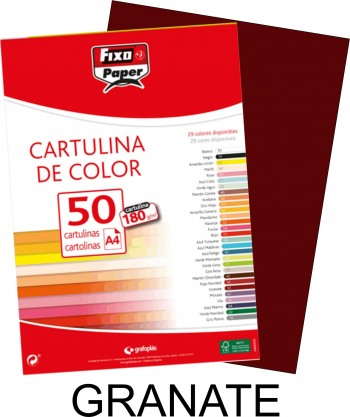 Cartulina A4 FIXO 180g. pack 50 hojas color Granate
