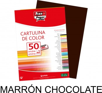 Cartulina A4 FIXO 180g. pack 50 hojas color Marrón chocolate