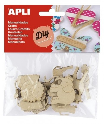 Formas Madera APLI Diy Scrapbooking Animales para decorar 40 mm. Pack 12 unidades