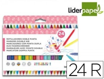 Rotuladores LIDERPAPEL Doble punta 24 colores redondos