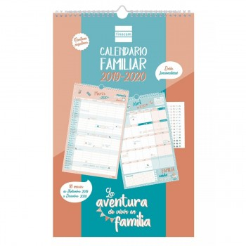 Calendario escolar FINOCAM Familiar 16 meses 308 x 225 mm. Aventura 19-20