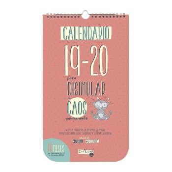 Calendario pared Finocam TALKUAL 16 meses 210 x 360 mm. Caos para escribir 19-20