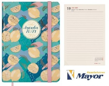 Agenda escolar FINOCAM Natural Cosida 118 x 168 mm. M4 1 dia pagina Lemon 20 - 21