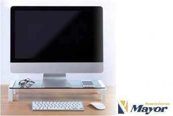 Soporte monitor OFFICE BOX Crystal Air Blanco
