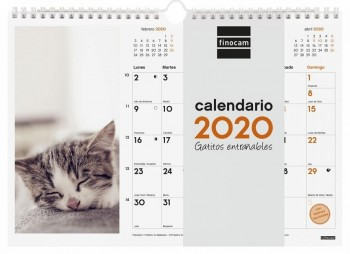 Calendario pared espiral FINOCAM 300 x 210 mm. escribir imagenes Gatitos entrañables 2020