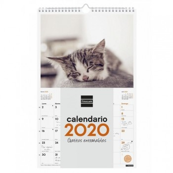 Calendario pared espiral FINOCAM 250 x 400 mm. escribir imagenes gatitos entrañables 2020