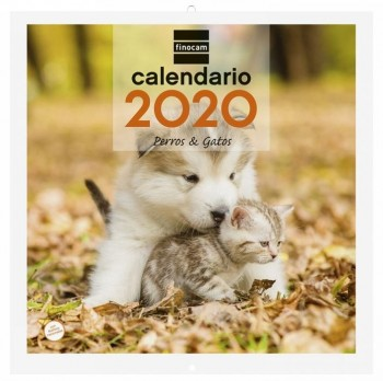 Calendario pared FINOCAM 300 x 300 mm. imagenes perros y gatos 2020