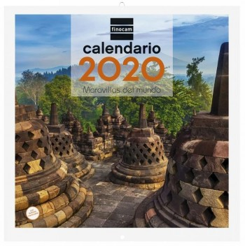 Calendario pared FINOCAM 300 x 300 mm. imagenes Maravillas del Mundo 2020