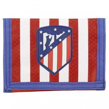 Cartera billetera ATLETICO DE  MADRID cirre velcro 125 x 95 mm. roja / blanca