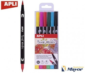 Rotuladores APLI Duo Acuarelable Lettering Pincel y Fina 1 mm. estuche 6 Colores