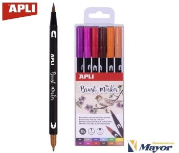 Rotuladores APLI Duo Acuarelable Lettering Pincel y Fina 1 mm. estuche 12 Colores