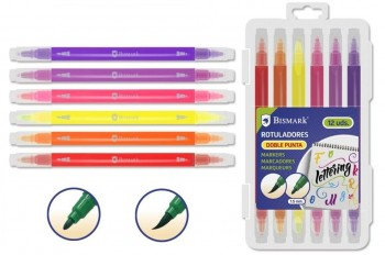 Rotuladores BISMARK Duo Lettering Pincel y Fina 1,5 mm. estuche 12 Colores