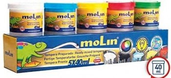 Tempera MOLIN escolar 5 colores 40 cc.