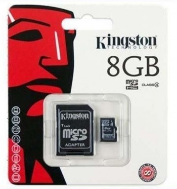 Memoria micro SD KINGSTON  8 gb. clase 10 45mb/s con adaptador