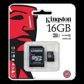 Memoria micro SD KINGSTON 16 gb. clase 10-80mb/s con adaptador