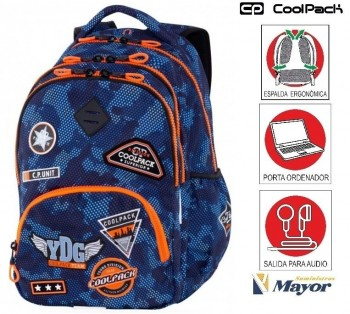 Mochila COOLPACK con Portaordenador Bentley Parches Camo Blue 30 L.