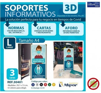 Soporte informativo OFFICE BOX A4 PVC 3 laterales personalizables