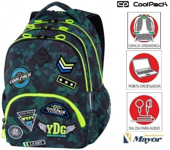 Mochila COOLPACK con Portaordenador Bentley Parches Camo Green 30 L.