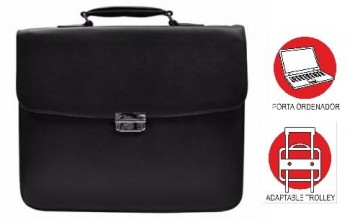 Maletin OFFICE BOX bandolera Regent Classic con Porta PC. Negro
