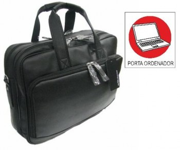 Maletin OFFICE BOX bandolera Regent Bussines con Porta PC. Negro