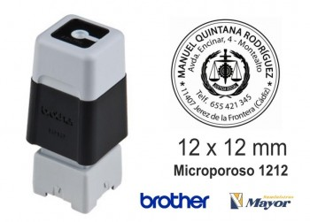 Sello microporoso BROTHER tinta recargle 12 x 12 negro personalización incluida