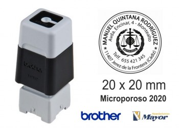 Sello microporoso BROTHER tinta recargle 20 x 20 Negro personalización incluida