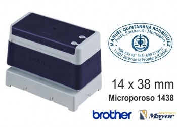 Sello microporoso BROTHER tinta recargle 14 x 38 Azul personalización incluida