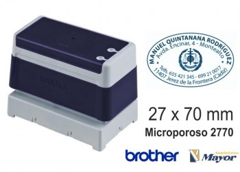 Sello microporoso BROTHER tinta recargle 27 x 70 Azul personalización incluida