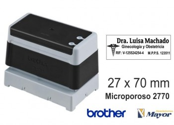 Sello microporoso BROTHER tinta recargle 27 x 70 negro personalización incluida