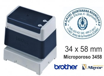 Sello microporoso BROTHER tinta recargle 34 x 58 Azul personalización incluida