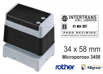 Sello microporoso BROTHER tinta recargle 34 x 58 Negro personalización incluida