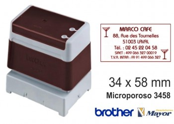 Sello microporoso BROTHER tinta recargle 34 x 58 Rojo personalización incluida