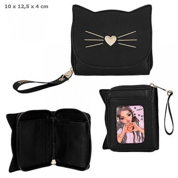 TOP MODEL Portamonedas monedero Cat Negro Gato