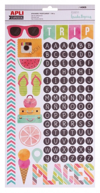 Adhesivos decorados APLI scrapbooking stickers abc postcards