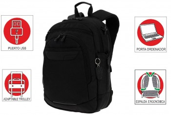 "Mochila TOTTO Ejecutivo Pc. y Tablet 14"" Binary negro"