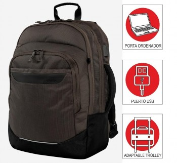 Mochila TOTTO commuter Pc. y tablet Banks negro con verde oscuro