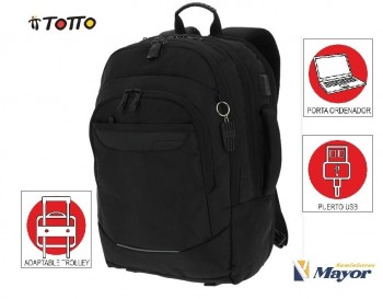 "Mochila TOTTO Poretaordenador commuter Pc. 15,4"" y tablet 1720G-N01 Negro"