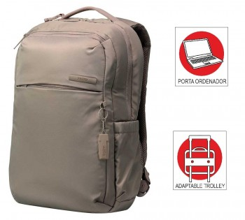 Mochila TOTTO commuter Pc. y tablet Sumbi beige tierra