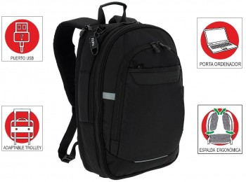 "Mochila TOTTO commuter Pc. y tablet 15"" Synergic negro"